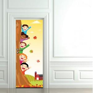 Детски фототапет за врата 'Весели деца'