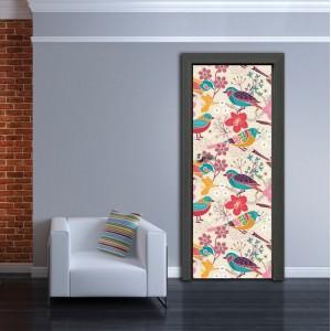 Фототапет за врата 'Цветни птичета'