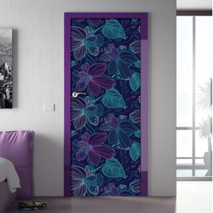 Фототапет за врата 'Абстрактни цветя'