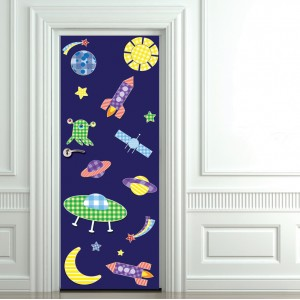 Детски фототапет за врата 'Детски космос'