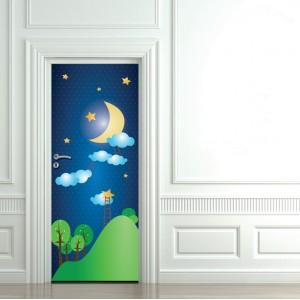 Детски фототапет за врата 'Луна'