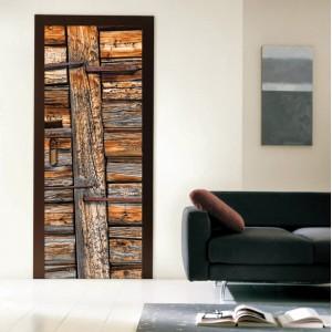Фототапет  за врата 'Ръждясали дъски'